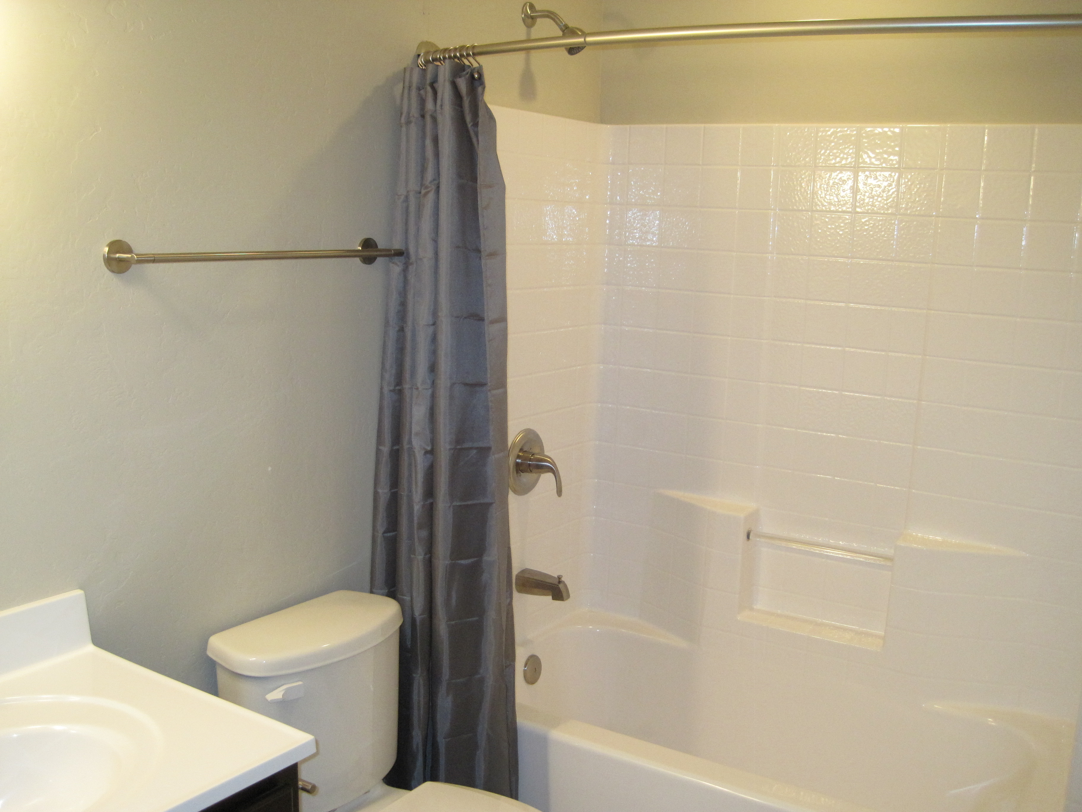 Hotel Shower Curtain Bar in the second bathroom